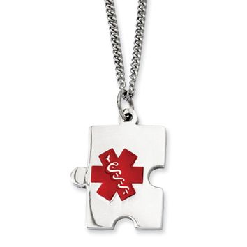 Stainless Steel Puzzle Piece Medical Pendant Necklace - 20 Inch