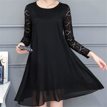 2017 New Spring Summer Women Straight O-Neck Full Sleeve Dress Plus Size L-4XL Loose Dresses Look Hollow Out Vestidos 72409