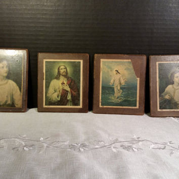 Religious Art Small Pictures Plaques Jesus Saint Coaster Wall Hangings Set of 4 Small Catholic Art Plaques Religious Catholic Icon Decor