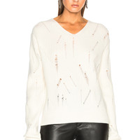 Helmut Lang Drop Needle V Neck Sweater in Ivory | FWRD