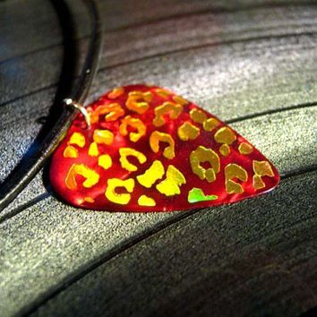 red leopard print guitar pick necklace, gold foil, leather cord | HeavyMetalPicks - Jewelry on ArtFire