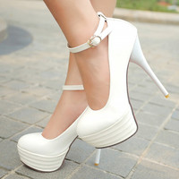 White Bridal Ultra High Club Heels round toes stilettos