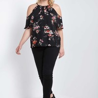Floral Open Shoulder Top Plus Size