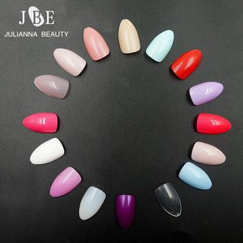 120Pcs Nails Oval Shape Artificial False Nail Tips Candy Color Middle Size Full Cover False Fake Nails Polish Art Display