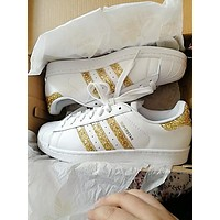 Adidas women's tide brand fashion casual shell shoes Gold Shining Sequins