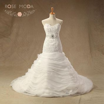 Rose Moda Chantilly Lace Wedding Dress with Removable Crystal Sash Mermaid Wedding Dresses with Organza Skirt