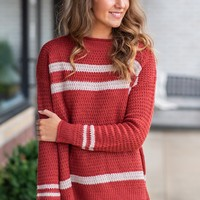 Closing Hour Stripe Accent High Neck Sweater : Rust/Oatmeal