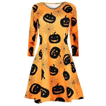 Fast Sending Girl Women Long Sleeve Pumpkins Skull Halloween Evening Prom Costume Swing Dress Party Props ping c816