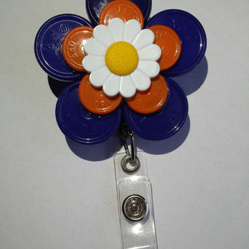 Blue Orange Medication Vial Cap with Flower accent ID Badge Holder
