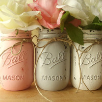 Rustic, Hand Painted Mason Jars | Home Decor, Wedding Decor -- Pink, Gray and White Painted Mason Jars