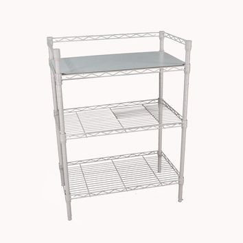 "3-Tier Heavy Duty Steel Adjustable Steel Wire Shelving Rack, 24"" Width x 30"" Height x 14"" Depth, White 16041"