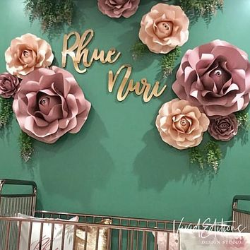 """18"""" Rose Gold Mirror Small Personalized Name Sign"""