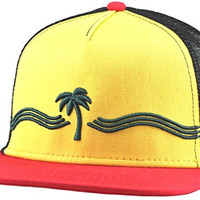 Cool Trucker Hat - Palm & Waves - by Lindo (Rasta)