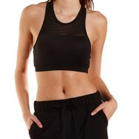 Black Mesh Yoke Sports Bra by Charlotte Russe