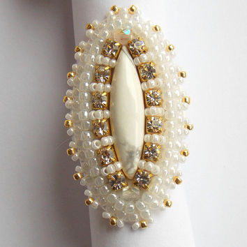Bead Embroidery ring Seed beads jewelry Fashionable jewelry.White Gold