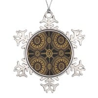 Stylized Vintage Floral in Black and Gold Snowflake Pewter Christmas Ornament