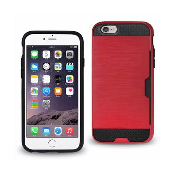 New Slim Armor Hybrid Case With Card Holder In Red For iPhone 6 By Reiko