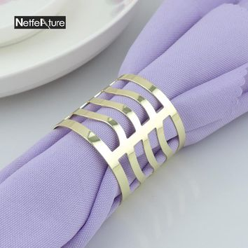 6PCS Metal Alloy Gold And Silver Round Napkin Rings For Wedding Banquet Napkin Holder Serviette Buckle Dinner Table Decoration