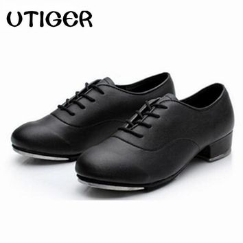 2017  Size 25-44 Adult Men Children Boy Tap Dance Leather or PU Oxford Lace Up Shoes Girls Women Tap Dancing shoes WD194