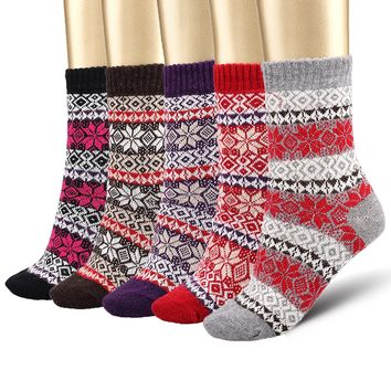Bemaystar Women's Wool Warm Socks 5 Pairs Fashion Plaid-Maple Leaf Wool Socks, Multicolor, One Size