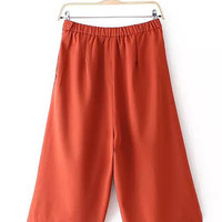 Elastic High Waist Cropped Pants