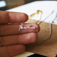 New York Cursive Font Charm Necklace,  Dainty Charm Necklace, Necklaces, Hipster Necklace, Charms, Holiday Gifts