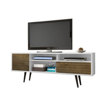 """70.86"""" Mid Century - Modern TV Stand w/ 4 Shelving Spaces & 1 Drawer -White, Rustic Brown"""