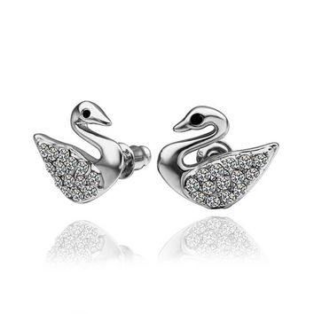 18K White Gold Dove Shaped Stud Earrings Made with Swarovksi Elements