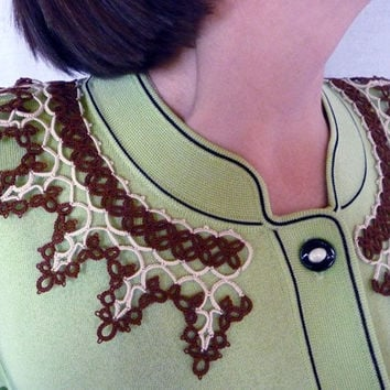 "Handmade Collar ""Vanilla and chocolate"" - lace collar - collar tatting - feminine accessories - elegant collar - vintage style"