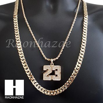 "MEN ICED OUT 23 PENDANT CHAIN DIAMOND CUT 30"" CUBAN LINK CHAIN NECKLACE S070"