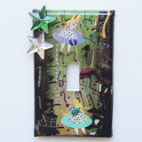 Alice in Wonderland Embellished Light Switch Plate Cover -  Mini Vignette - One of a Kind - Great Gift