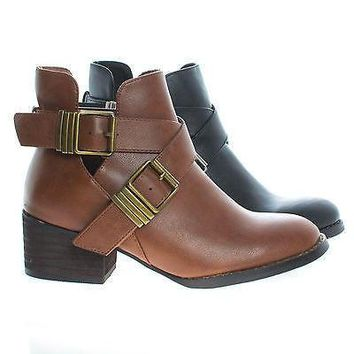 Bronco11 By Breckelle¡¯s, Cut Out Criss Cross Buckle Faux Wooden Heel Ankle Boots