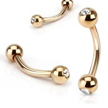 Clear CZ Ball Rose Gold IP Curved Barbell