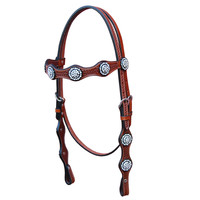 Bar H Equine Scallop Browband w/ Crystal Concho