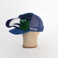 Vintage 80s SEAHAWKS Hat / 1980s Rare Novelty Seattle Seahawks NFL Plush Trucker Snapback Cap