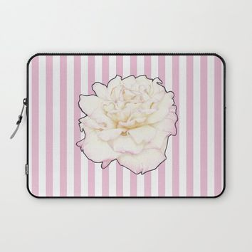 Pale Rose on Stripes Laptop Sleeve by drawingsbylam