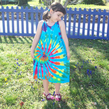 Girls Tie Dye Dress, Baby Tie Dye Dress, Tank Sleeve,  Rainbow Sky