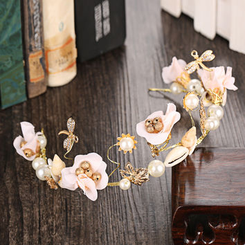 Gift Shiny Stylish Jewelry New Arrival Floral Headwear Korean Travel Beach Ring [8779894156]
