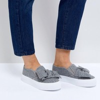 ASOS DISCOVERY Wide Fit Bow Flatform Sneakers at asos.com