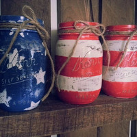 American Flag Mason Jars set of 3