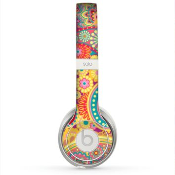 The Neon Orange Paisley Pattern Skin for the Beats by Dre Solo 2 Headphones
