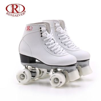 RENIAEVER Roller Skates Double Line Skates White Women Female Lady Adult White PU 4 Wheels Two line Skating Shoes Patines