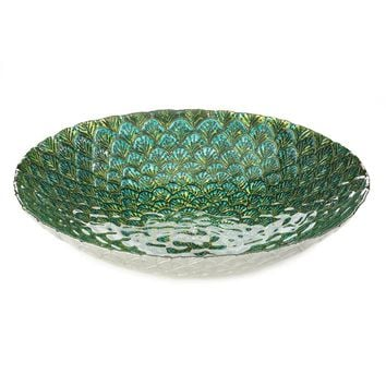 Iron And Glass Peacock Feather Inspired Decorative Plate
