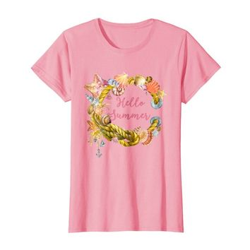 Seashell Watercolor Hello Summer t-shirt