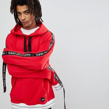Sixth June Oversized Hoodie In Red With Taping at asos.com
