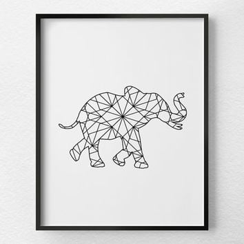 Elephant Decor, Elephant Print, Geometric Elephant Art, Minimalist Art, Elephant Nursery, Geometric Art, Black and White Art, 0371