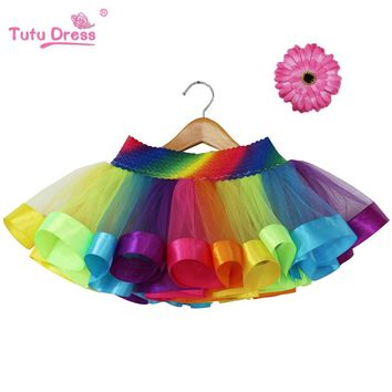 2018 New Design Summer Style Girl Skirt Baby Rainbow Skirt Kids Tutu Skirt