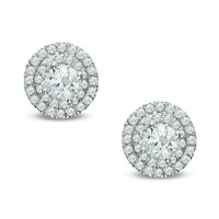 1/2 CT. T.W. Diamond Double Frame Stud Earrings in 14K White Gold