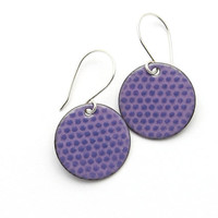 Purple Enamel Earrings, Lavender Polka Dots, Copper and Sterling Silver