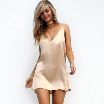 Sleek Sash Slip Dress